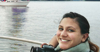 Former editor Laura Garcia stops for a picture while on assignment at South Mountain Lake in Virginia.  Courtesy