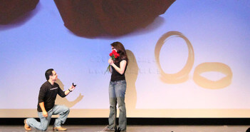 Carlos Ryan proposes marriage to Lindsey Lyons, ASL/IT sophomore at the ASL talent show March 2014 in McAllister.  File