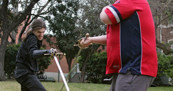"Theater adjunct Joseph Urick and Brian Hill, drama sophomore and president of Drama Club, rehearse sword fight choreography for ""Cyrano de Bergerac"" before callbacks Feb. 5 at Bennett Music Hall. The play premieres 7:30 p.m. April 9 in McAllister.  File"