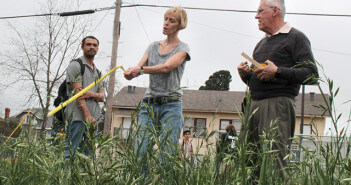 Justin Duncan of the National Center for Appropriate Technology; Julie Cornelius, continuing education program coordinator; and Steven Lewis, director of EcoCentro, measure and mark plots after a meeting Wednesday at EcoCentro.  Photo by Anthony B. Botello