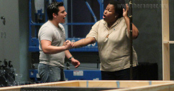 "Louis Valdez, St. Philip's drama graduate, and Michelle Burnett, district continuing education coordinator of workforce education, rehearse a scene for ""Lady Day at Emerson's Bar and Grill"" Wednesday in Watson theater.  Photo by Pam Paz"