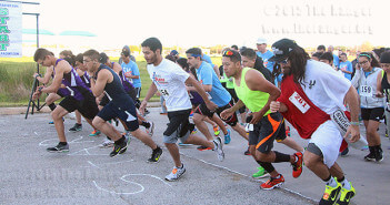 """Cordero Maldonado, known as Spurs Jesus, was in the front line of the second Alamo Colleges Wellness 5K Run/Walk March 28 at Palo Alto. Read """"More than 200 turn out for second wellness run at PAC"""" on www.theranger.org.  Photo by Vanessa Frausto"""